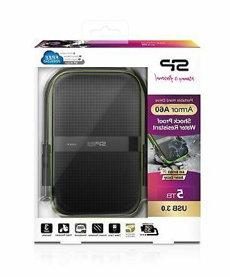 5TB A60 Shockproof Portable Drive Black/Green