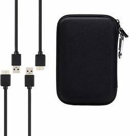 Portable Hard Drive Case with 2 USB 3.0 Charger Cable, Sourc